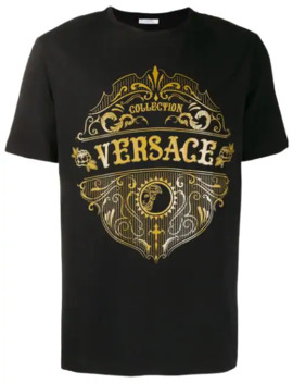 Crew Neck Logo T Shirt by Versace Collection