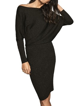 Lara Long Sleeve Metallic Sweater Dress by Reiss