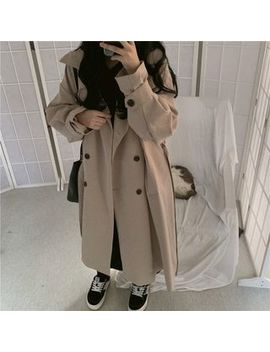 J Style   Double Breasted Midi Trench Coat by J Style
