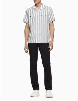 Classic Fit Yarn Dyed Stripe Camp Shirt by Calvin Klein
