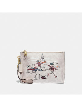 Charlie Pouch In Signature Canvas With Bonesy by Coach