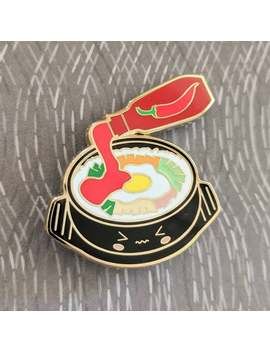 Korean Stone Pot Rice Bibimbap With Gochujang Spicy Pepper Sauce Enamel Pin Hat Lapel Flair Badge Pin by Etsy