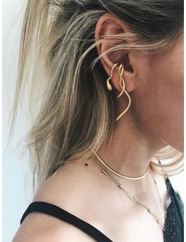 Snake Ear Cuff,Gold Ear Cuff,Snake Ear Piece,Gold Snake Earrings,Mono Earring,Single Earring,Gold Ear Jacket,Snake Suspender Earring,Medusa by Etsy