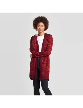 Women's Jacquard Long Sleeve Open Cardigan   Knox Rose™ Red by Knox Rose