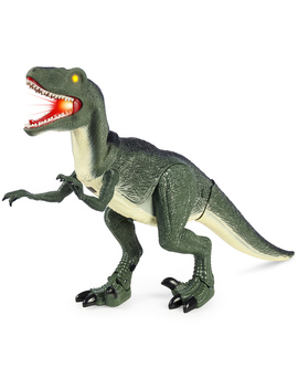 Best Choice Products 21 Inch Walking Velociraptor Dinosaur Toy W/ Real Lights And Sounds, Green by Best Choice Products