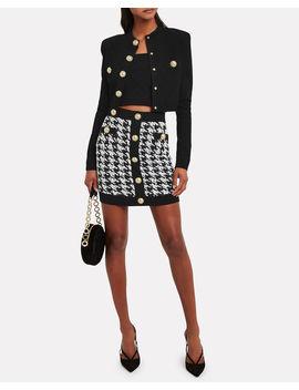 Houndstooth Tweed Mini Skirt by Balmain