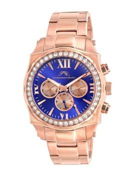 Women's Milan Crystal Rose Gold Tone Bracelet Watch, 44mm by Porsamo Bleu