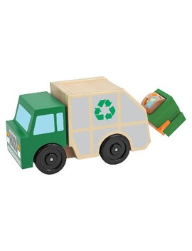 Melissa & Doug Garbage Truck Wooden Vehicle Toy (3pc) by Melissa & Doug