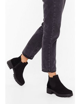 Kicking And Screaming Faux Suede Chelsea Boots by Nasty Gal