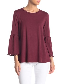 Bell Sleeve Pompom Trim Top by Johnny Was