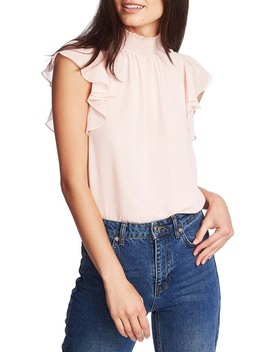 Flutter Sleeve Smocked Neck Blouse by 1.State