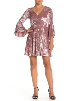Bell Sleeve V Neck Mini Dress by Angie