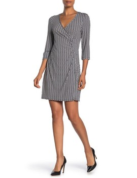 Faux Wrap 3/4 Length Sleeve Dress by Laundry By Shelli Segal