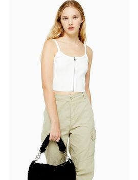 White Zip Front Tank by Topshop