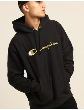 Champion Reverse Weave Embroidered Hood Black/Gold by Champion