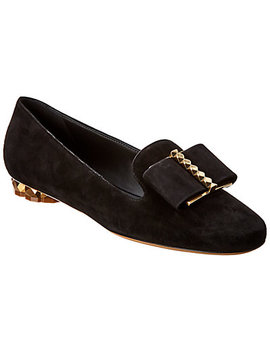 Salvatore Ferragamo Refracted Heel Suede Slipper by Salvatore Ferragamo