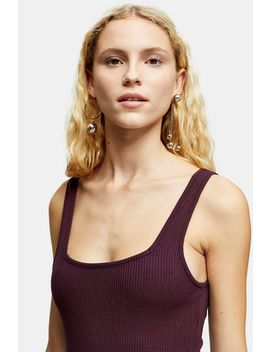 Burgundy Square Neck Ribbed Bodysuit by Topshop