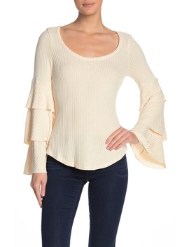 Waffle Knit Layered Bell Sleeve Top by Chaser