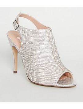 Silver Shimmer Diamanté Peep Toe Stilettos by New Look