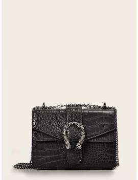 Croc Embossed Flap Chain Crossbody Bag by Shein