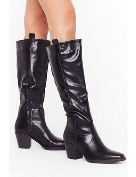 Square The Night Faux Leather Knee High Boots by Nasty Gal