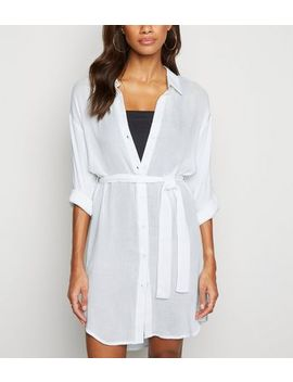 White Belted Beach Shirt Dress by New Look