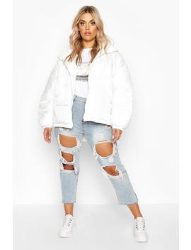 Plus Hooded Funnel Neck Puffer Jacket by Boohoo