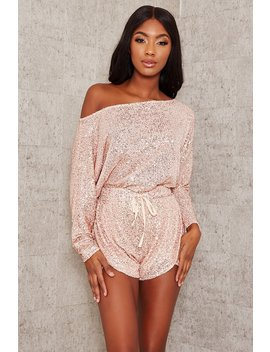 Rose Gold Sequin Off The Shoulder Top by I Saw It First