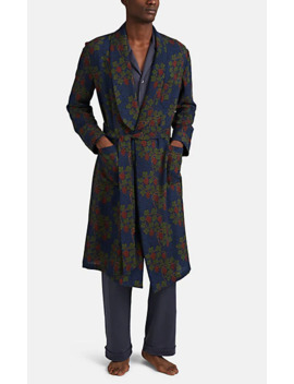 Floral Grape Pattern Wool Robe by Barneys New York