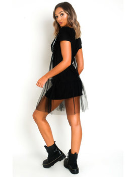Roxanne Slogan Tulle T Shirt Dress In Black by Ikrush