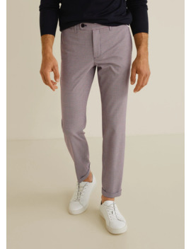 Slim Fit Gingham Check Pants by Mango