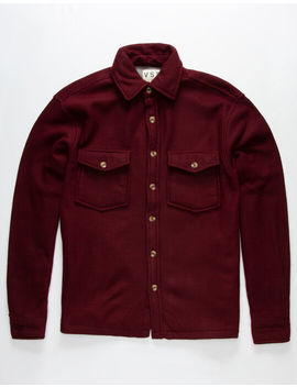 Vstr Solid Shacket Burgandy Mens Shirt by Vstr
