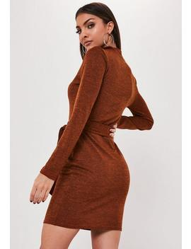 Rust High Neck Self Belted Mini Dress by Missguided
