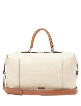 Vagabond Linen & Leather Duffle Bag by Métier London