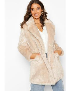 Tall Double Breasted Faux Fur Coat by Boohoo