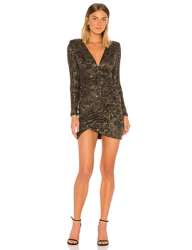 Diaz Plunging Long Sleeve Dress In Black & Gold by Alice + Olivia