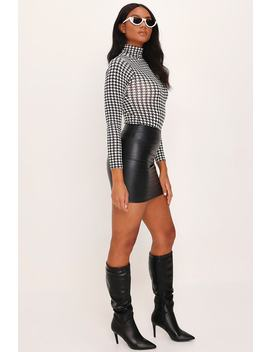 Black Dogstooth Print Roll Neck Long Sleeve Bodysuit by I Saw It First