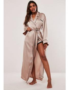 Playboy X Missguided Champagne Satin Dressing Gown by Missguided