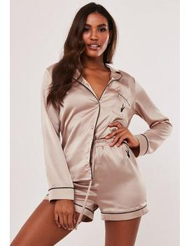 Playboy X Missguided Champagne Satin Shorts And Shirt Pyjama Set by Missguided