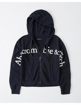 Full Zip Logo Hoodie by Abercrombie & Fitch
