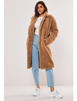 Tan Oversized Borg Teddy Coat by Missguided