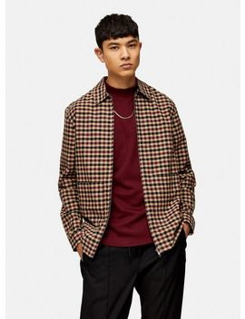 Stone, Burgundy And Grey Gingham Zip Overshirt by Topman