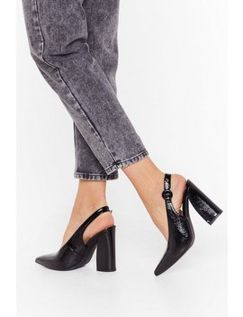 Slingback For Good Faux Leather Heels by Nasty Gal