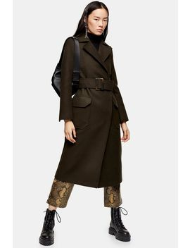 Khaki Utility Trench Coat by Topshop