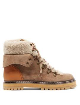 Shearling Lined Suede Hiking Boots by See By Chloé