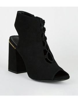 Black Suedette Lace Up Peep Toe Boots by New Look