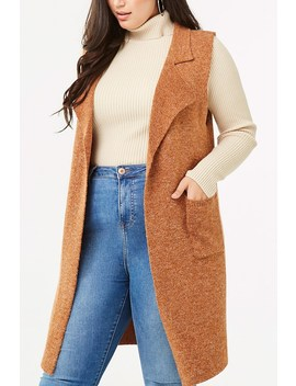 Plus Size Marled Longline Vest by Forever 21