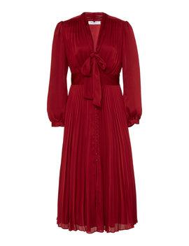 Macin Pleated Sateen Midi Dress by Equipment