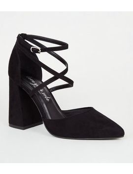 Black Suedette Strappy Flared Block Heels by New Look