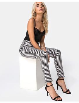 Jolim Trouser In Mini Pinstripe Black And Nude By Motel by Motel